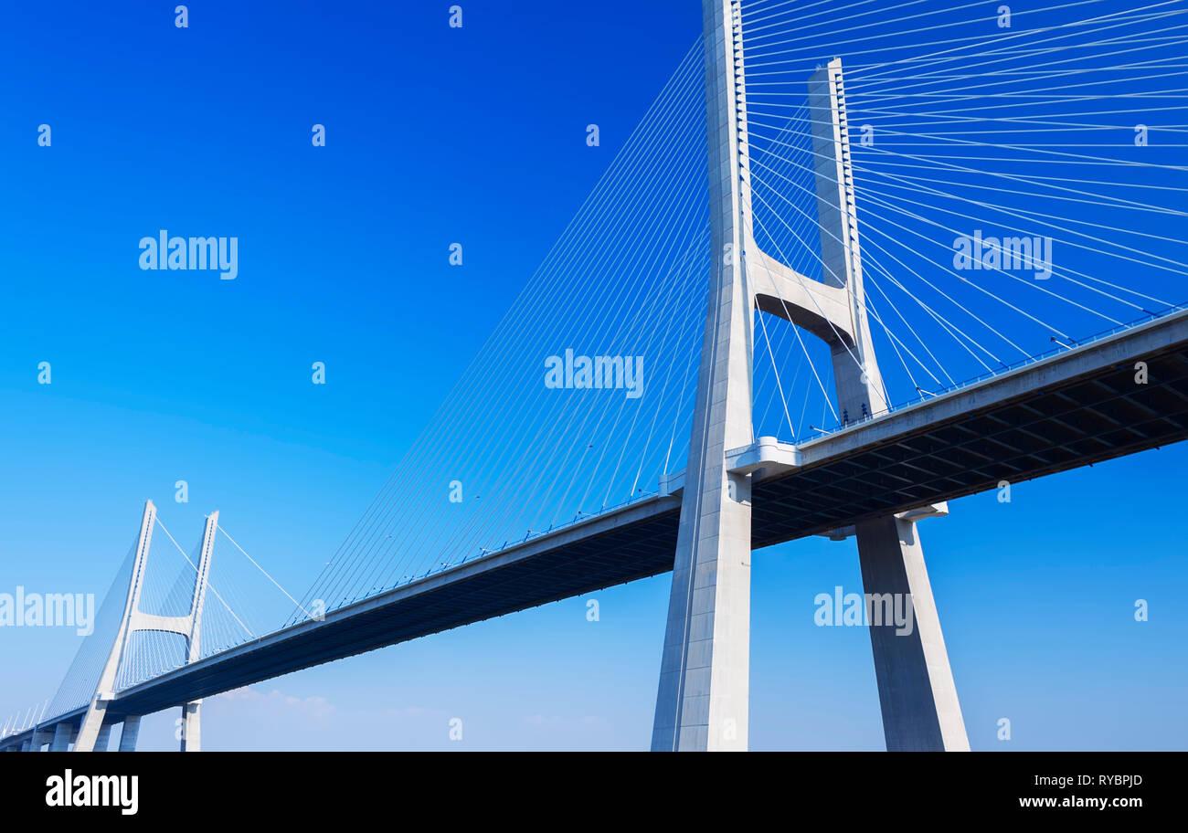 Vasco da Gama bridge over the Tejo river, Europe's longest bridge, Lisbon, Portugal, Europe Stock Photo