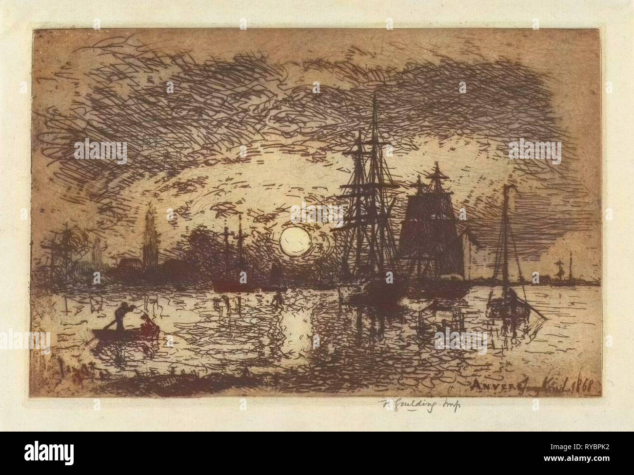 Vincent Van Gogh Quayside with Ships in Antwerp 1885 Vintage Print