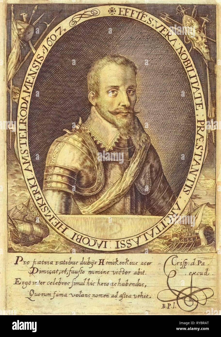 Portrait of Jacob van Heemskerck, Crispijn van de Passe (I), Monogrammist BPI, 1607 - Stock Image
