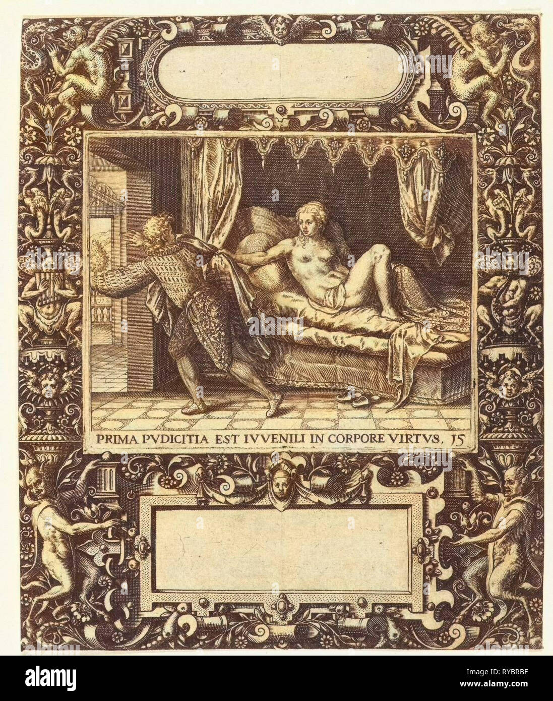 Picture frame with an elongated cartouche with rounded sides, Theodor de Bry, 1593 - Stock Image