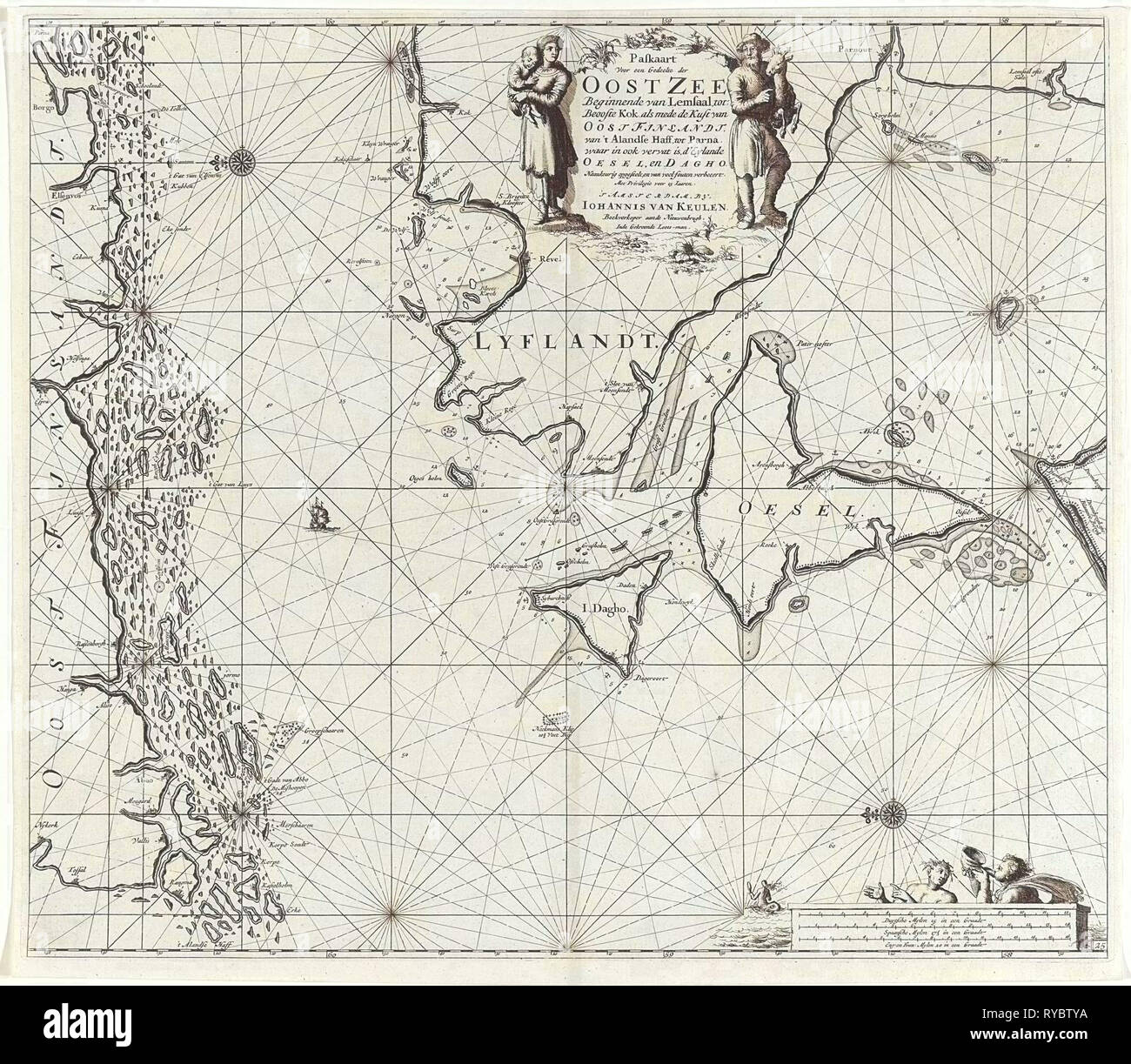Sea chart of the mouth of the Gulf of Finland in the Baltic Sea, Jan Luyken, Johannes van Keulen (I), unknown, 1681 - 1799 - Stock Image