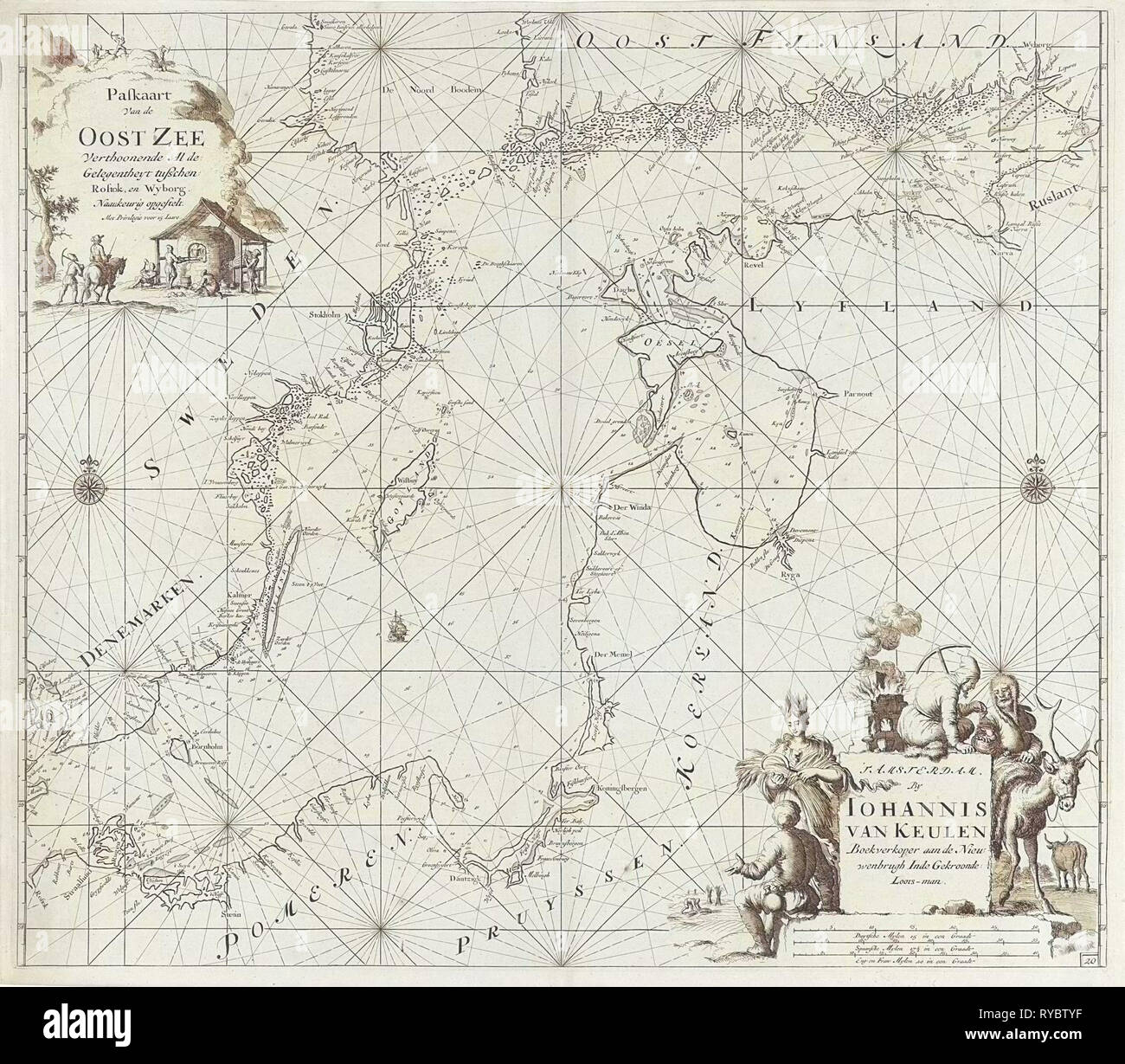 Sea chart of the Baltic Sea from Rostock to Vyborg, Jan Luyken, Johannes van Keulen (I), unknown, 1681 - 1799 Stock Photo