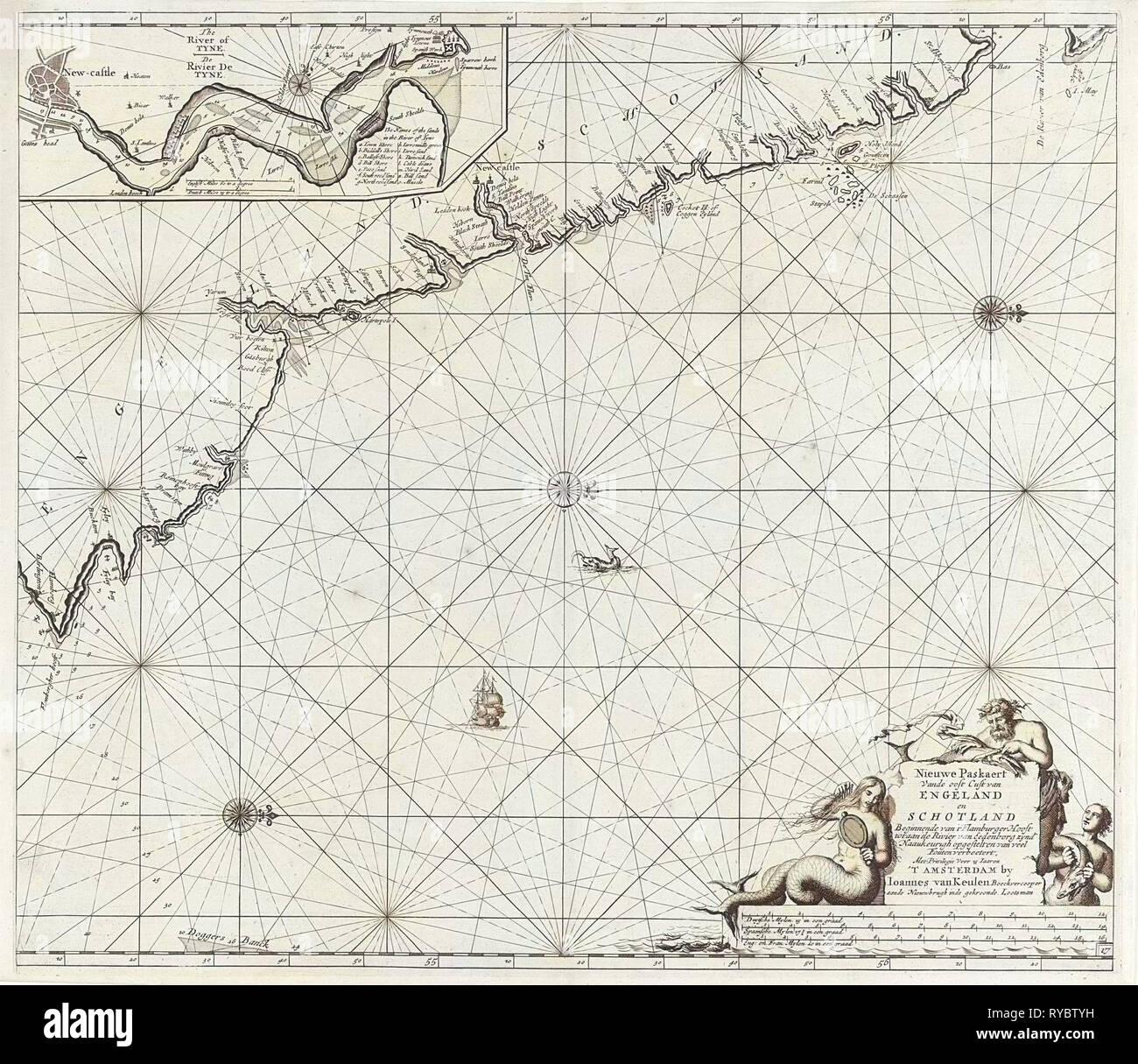 Sea chart of part of the northeast coast of England and part of Scotland, Jan Luyken, Johannes van Keulen (I), unknown, 1681 - 1799 - Stock Image