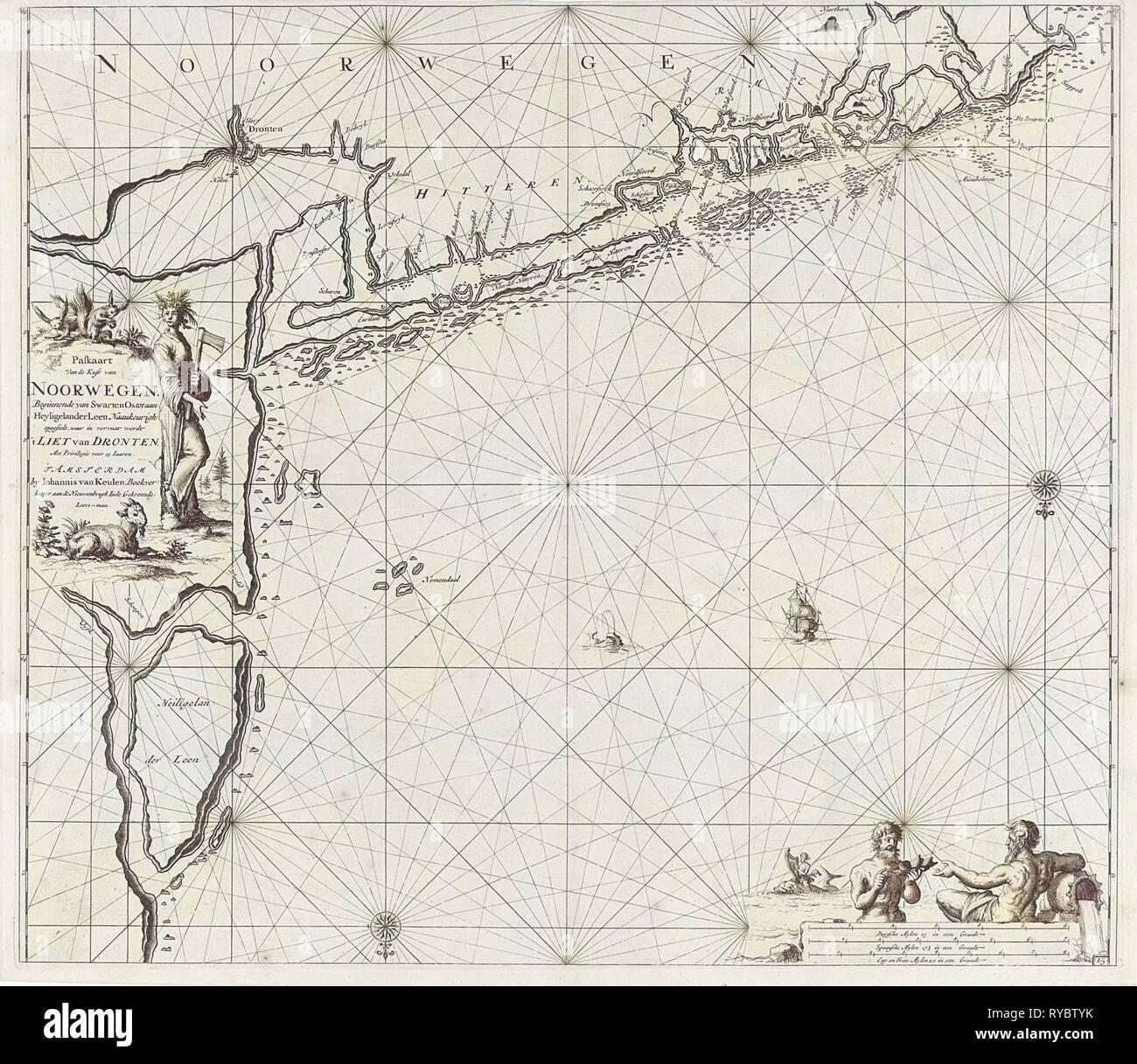 Sea chart of the coast of Norway near Trondheim, Jan Luyken, Johannes van Keulen (I), unknown, 1681 - 1799 - Stock Image