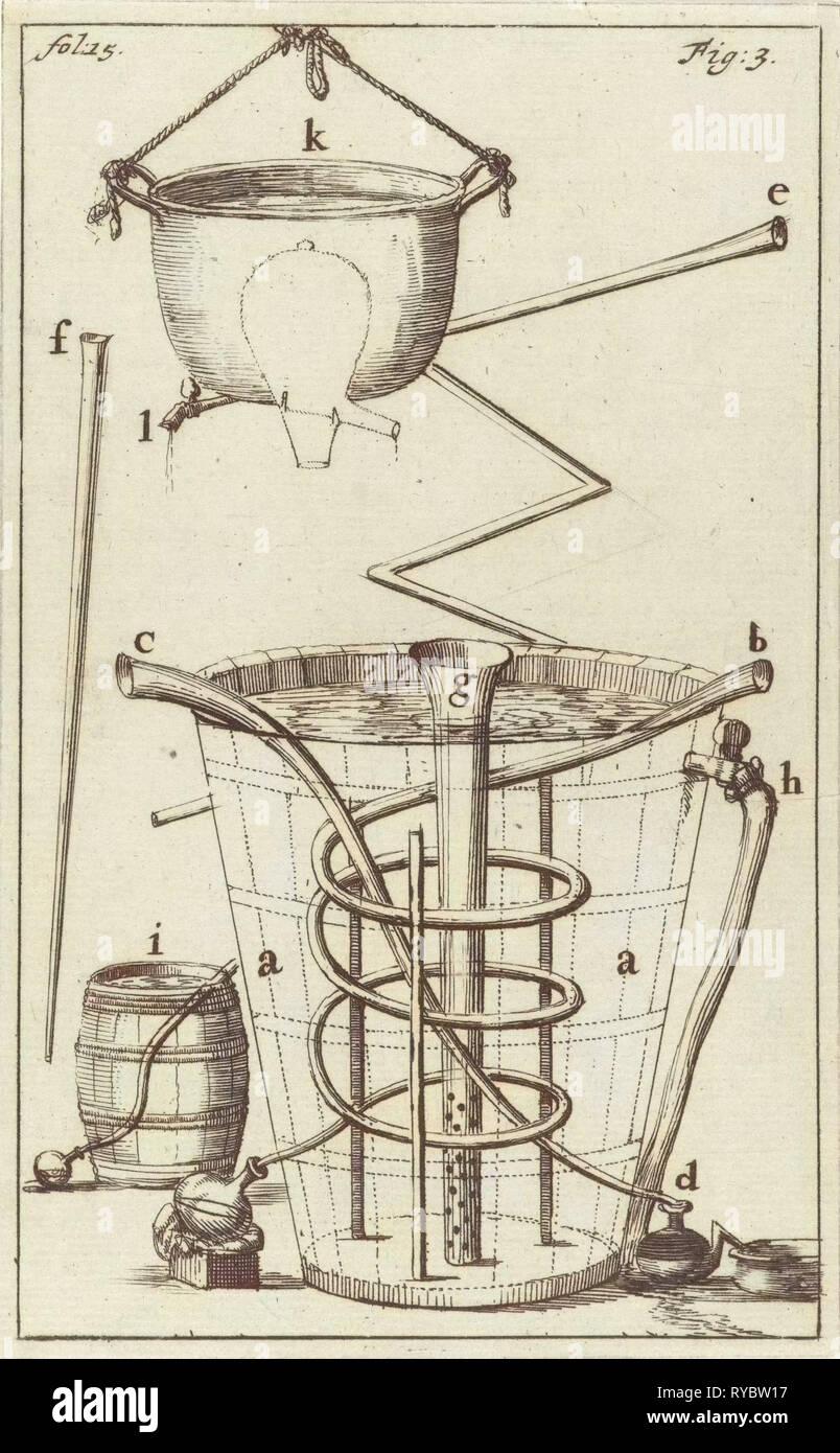 distiller with indications AK, Jan Luyken, Jan Claesz ten Hoorn, 1689 - Stock Image