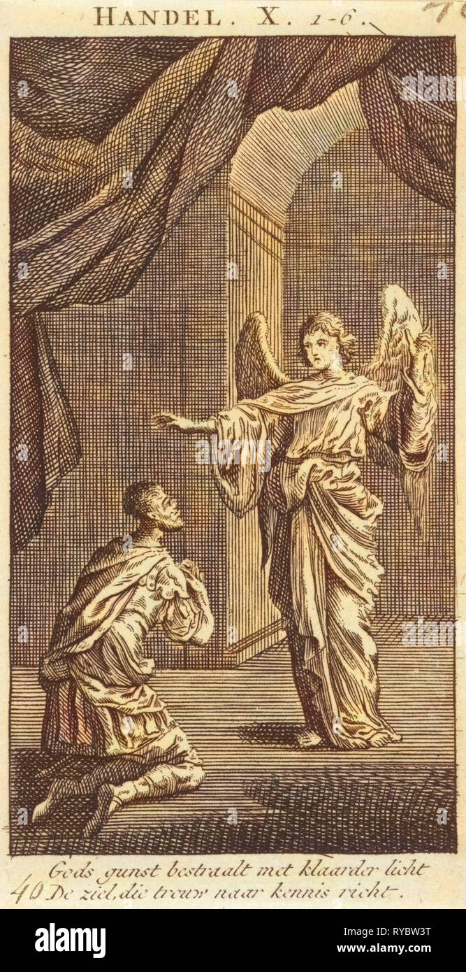 Cornelius kneels before the angel sent to him, Jan Luyken, Anonymous, 1712 - Stock Image