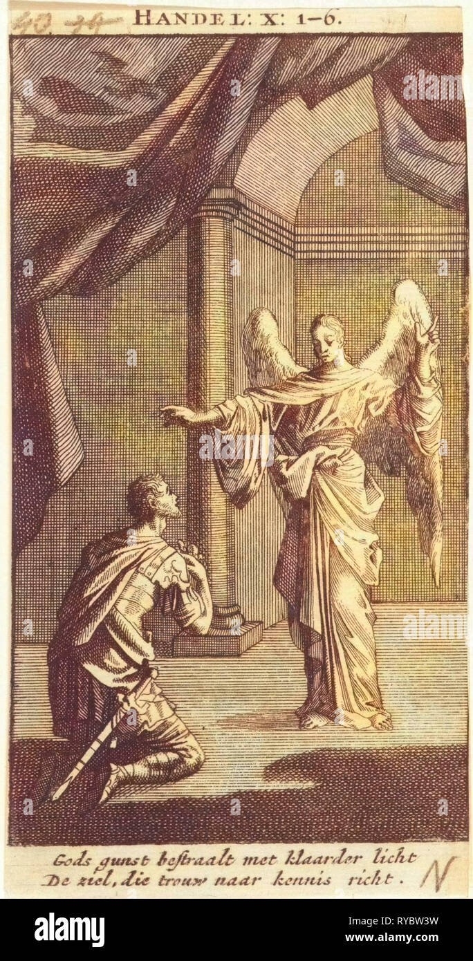 Cornelius kneels before the angel sent to him, Jan Luyken, print maker: Anonymous, 1712 - Stock Image