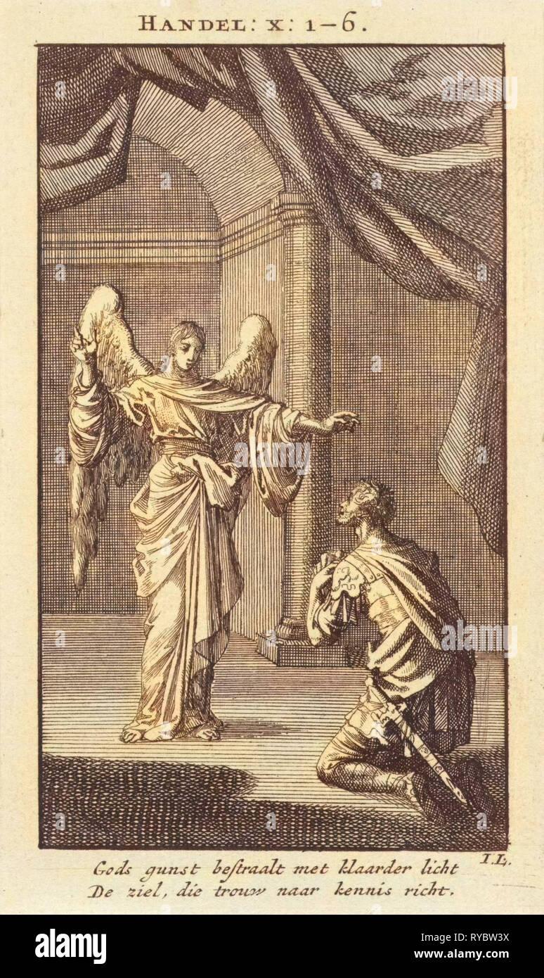Cornelius kneels before the angel sent to him, Jan Luyken, wed. Pieter Arentsz & Cornelis van der Sys II, 1712 - Stock Image