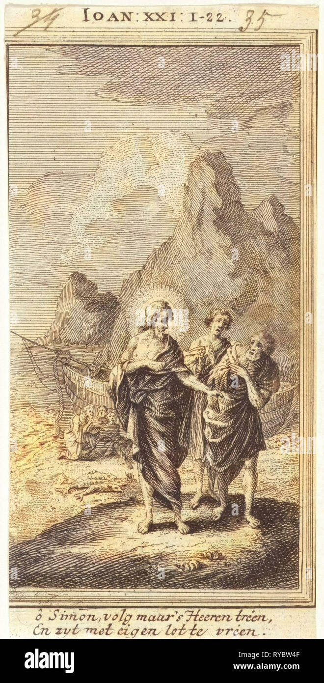 Christ Appears at the Sea of Galilee, Jan Luyken, Anonymous, 1712 - Stock Image