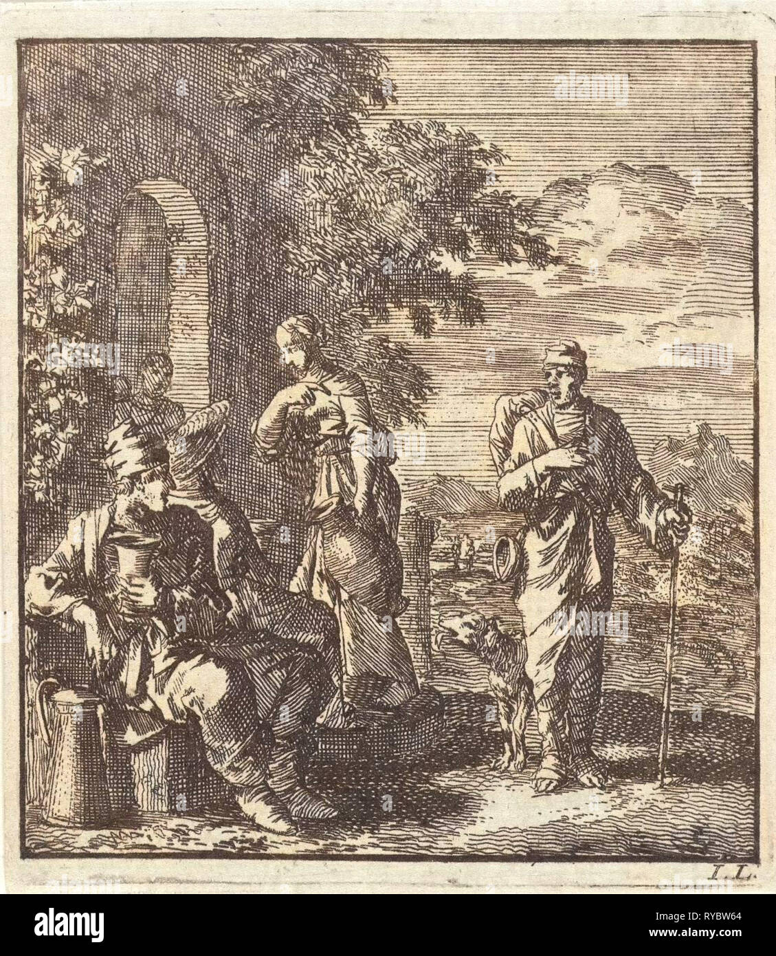 Seated man with cup and can turns from a thirsty hiker, print maker: Jan Luyken, wed. Pieter Arentsz & Cornelis van der Sys II, 1711 - Stock Image