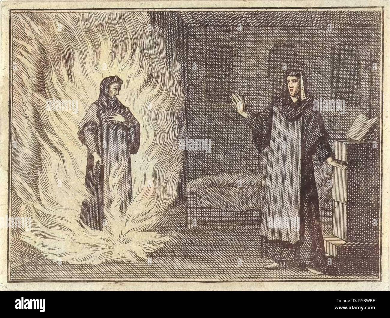 Johanna Catherine appears as a spirit in purgatory for her friend Magdalena S. à Alexio, print maker: Caspar Luyken, Christoph Weigel, Frantz Martin Hertzen, 1710 - Stock Image