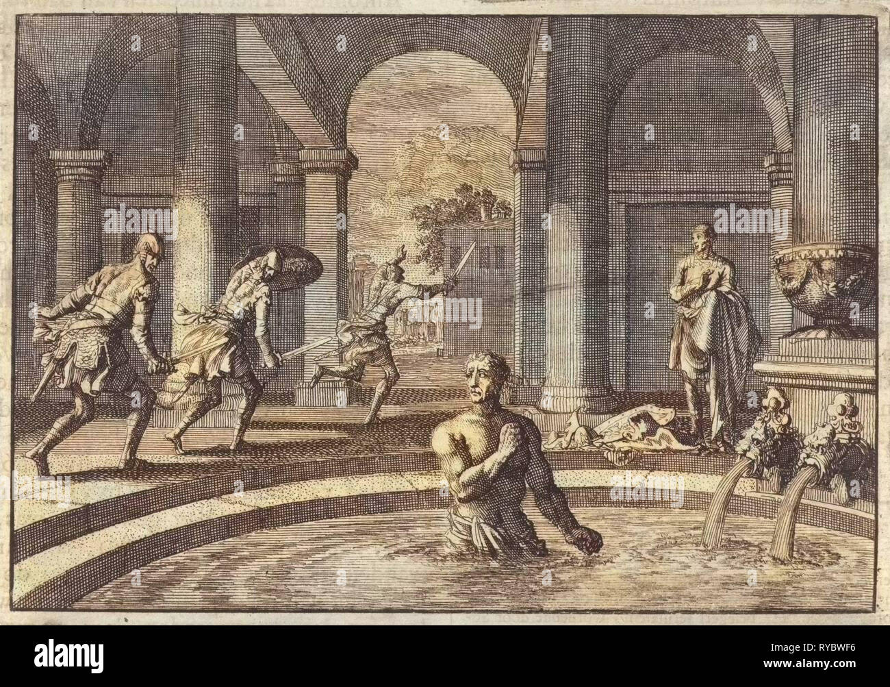 Armed enemies flee when they see Herod in bath after his victory over the army of Antigonus, Jan Luyken, Pieter Mortier, 1704 Stock Photo