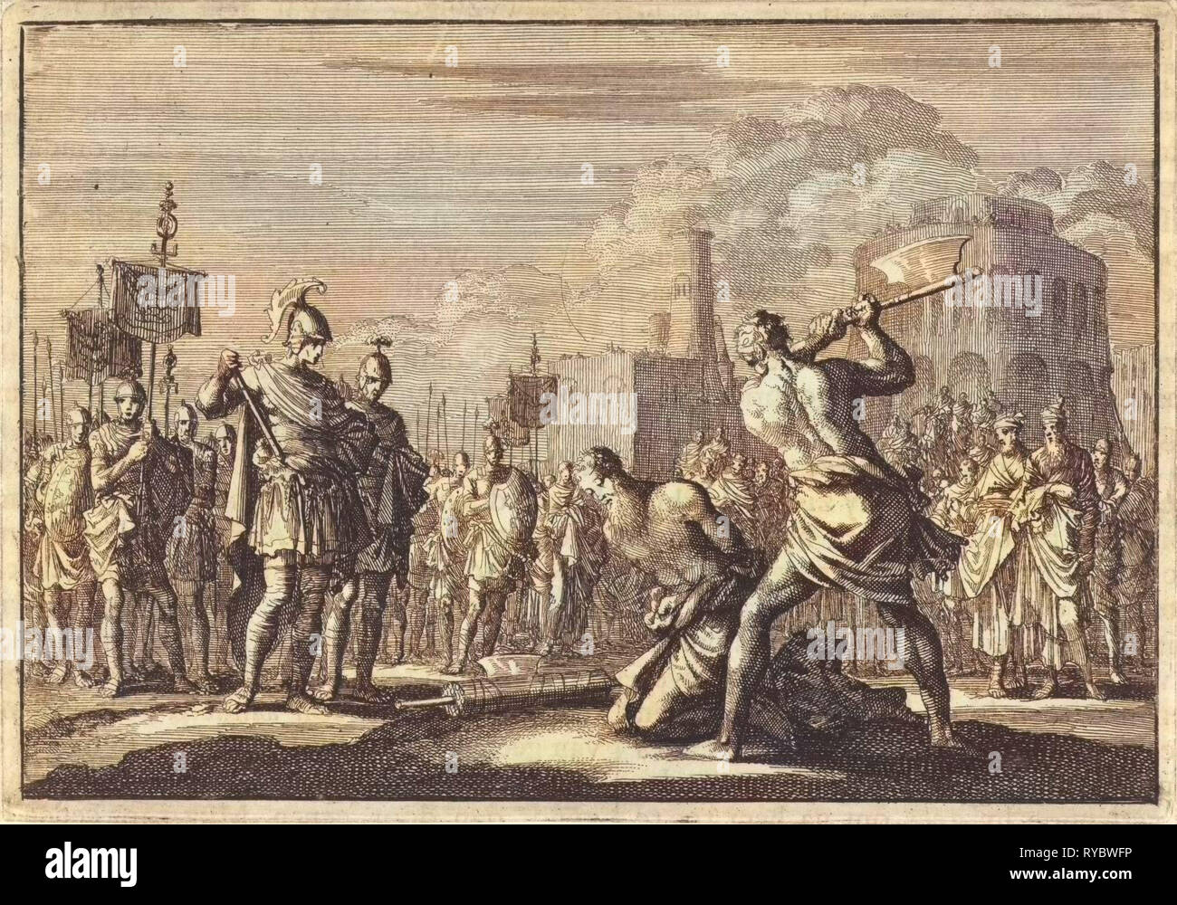 The beheading of Antigonus ordered by Anthony, Jan Luyken, Pieter Mortier, 1704 - Stock Image