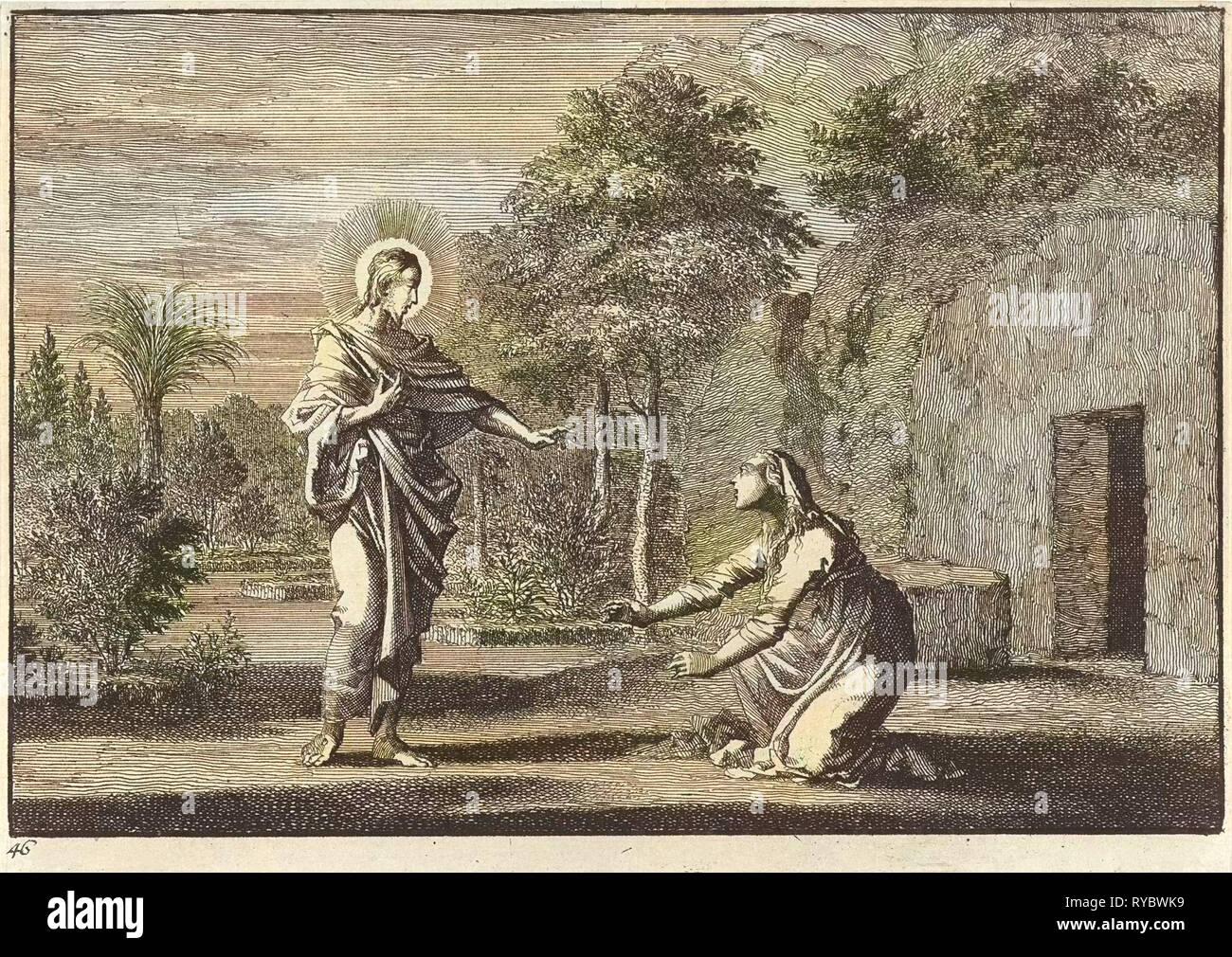 Christ appears to Mary Magdalene, print maker: Jan Luyken, Pieter Mortier, 1703 - Stock Image