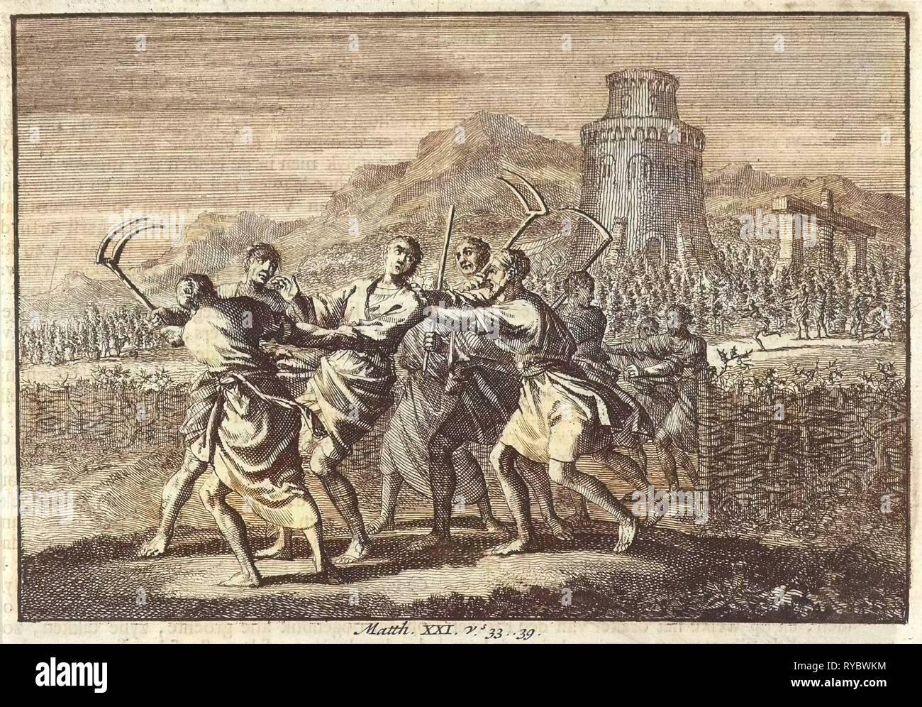 Parable of the tenants of the vineyard, Jan Luyken, 1703 - 1762 - Stock Image