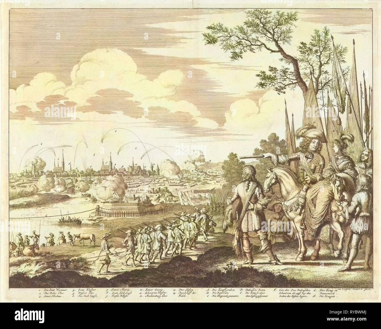 Siege and conquest of Wismar by the Danish Army, 1675, Germany - Stock Image