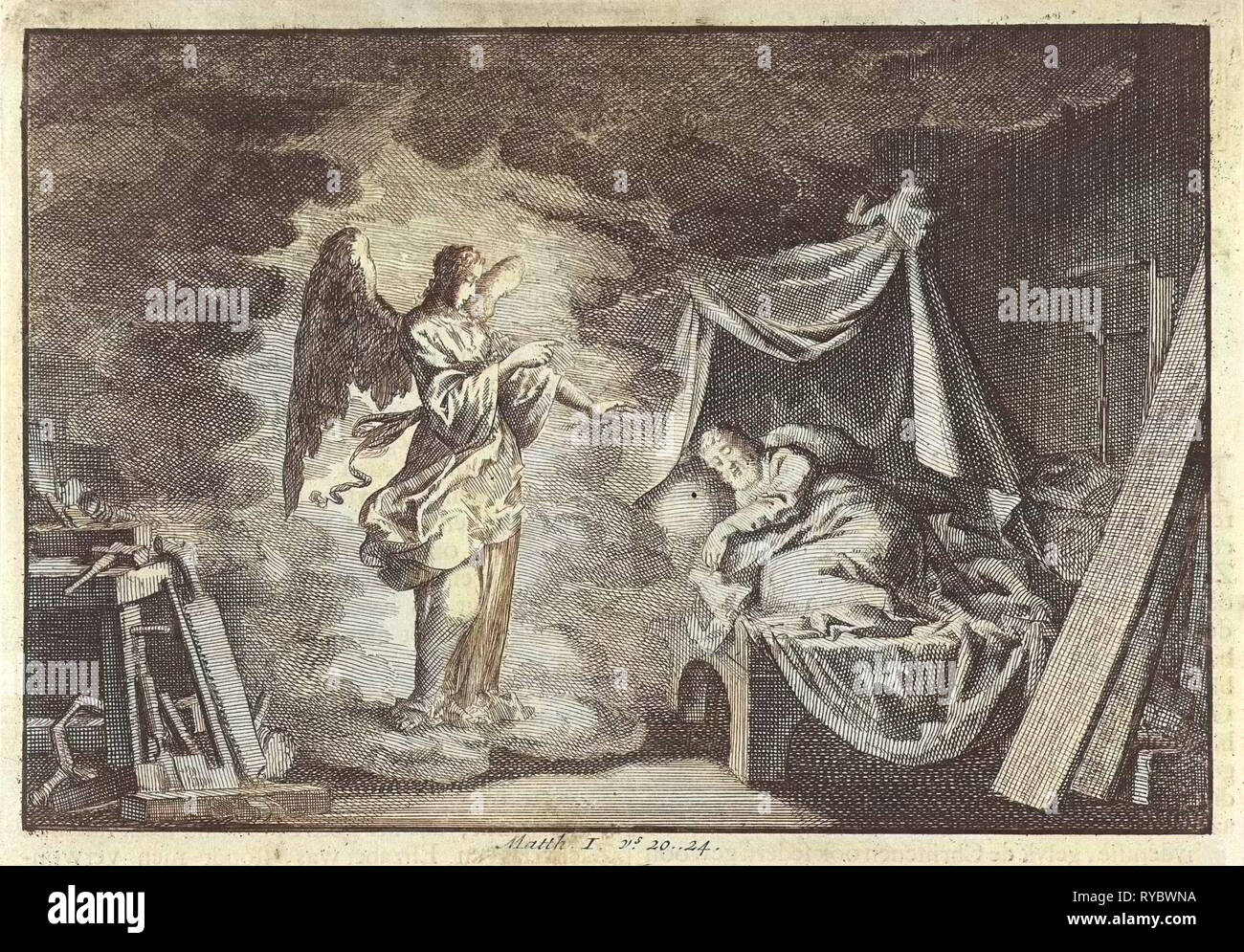 Angel appears to Joseph in his carpentry workshop, Jan Luyken, Pieter Mortier, 1703 - 1762 - Stock Image