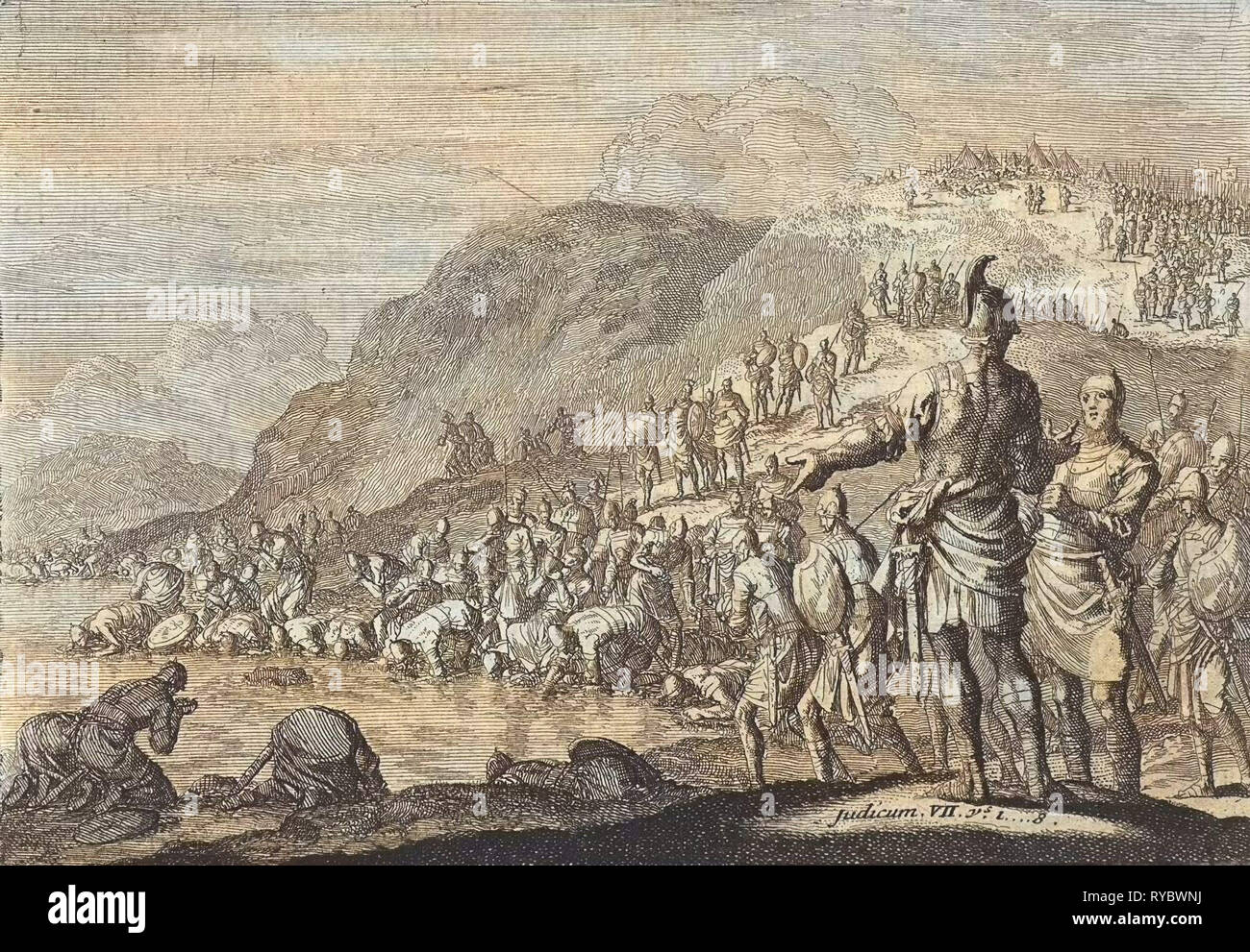 Gideon orders his men to drink water, Jan Luyken, Pieter Mortier, 1703 - 1762 - Stock Image