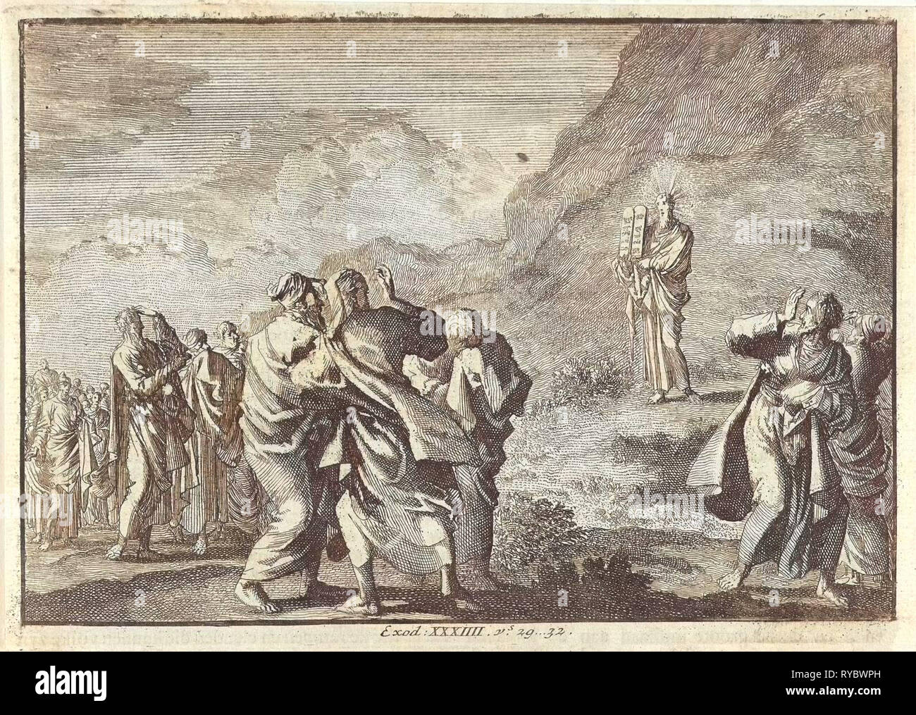 Moses received the law tables and displays them to the people, Jan Luyken, Pieter Mortier, 1703 - 1762 Stock Photo
