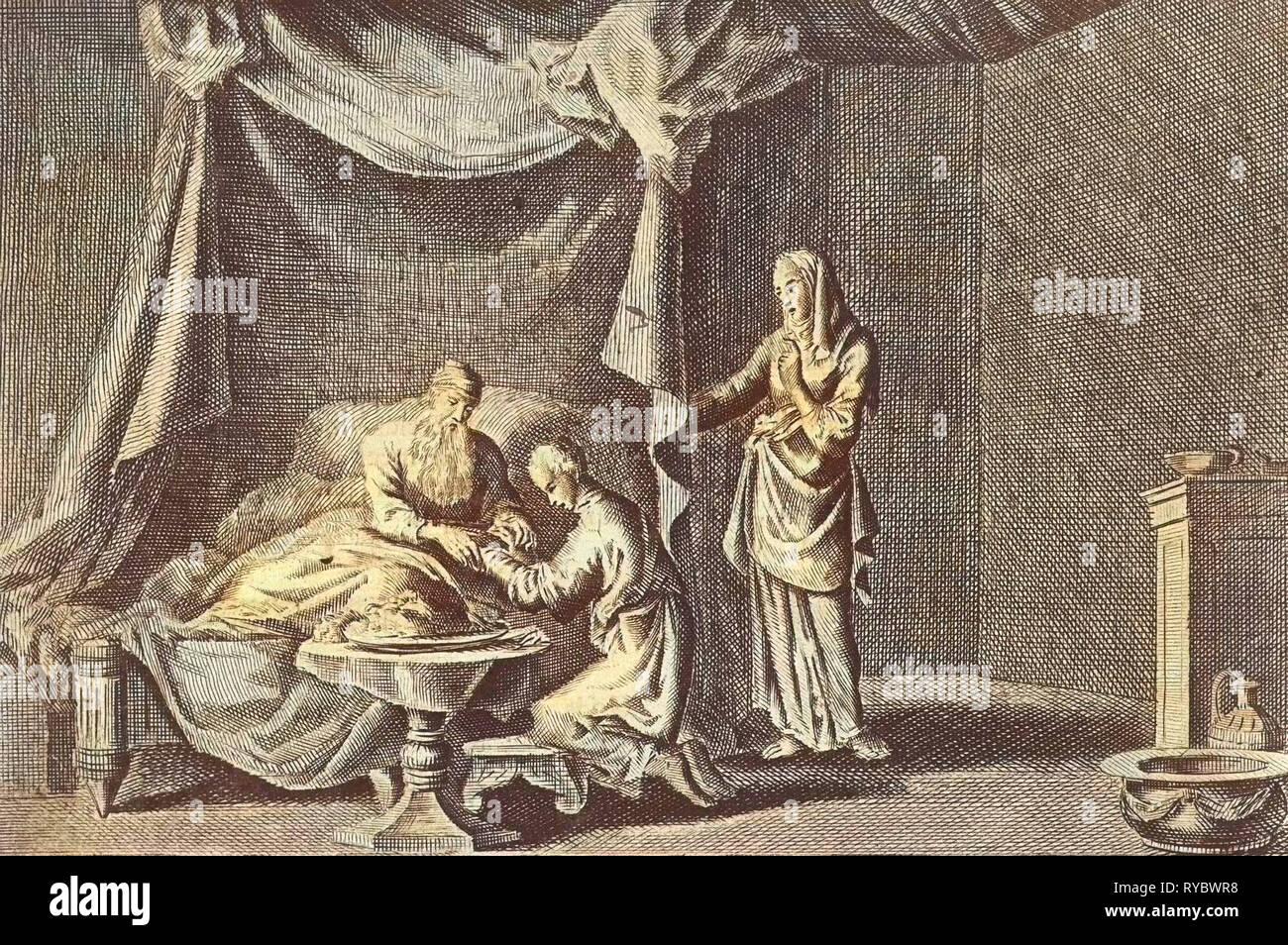 Isaac blesses Jacob, Jan Luyken, Pieter Mortier, 1703 - 1762 - Stock Image