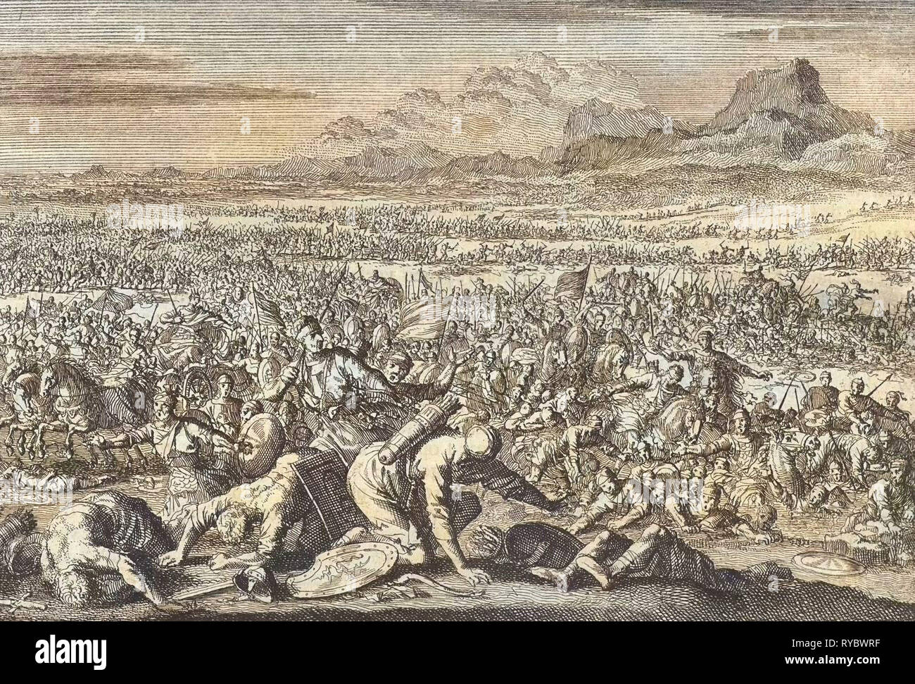 Armies of Sodom and Gomorrah defeated, Jan Luyken, Pieter Mortier, 1703 - 1762 - Stock Image