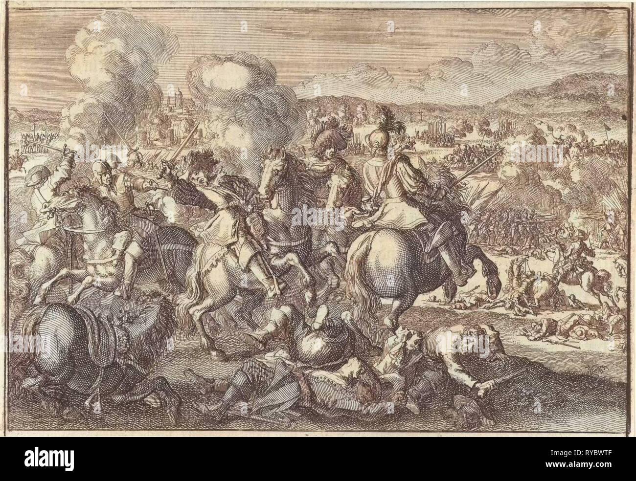 Death of King Gustavus Adolphus of Sweden at the Battle of Lutzen, southwest of Leipzig, Germany, 1632, Johann David Zunnern, 1701 - Stock Image