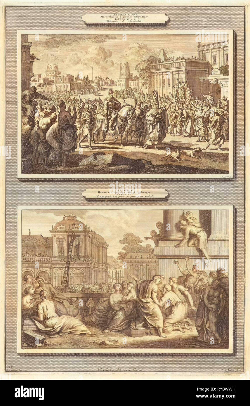 Mordecai is honored in Babylon and the execution of Haman, print maker: Jan Luyken, print maker: Jacob de Later, Bernard Picart, 1700 - Stock Image