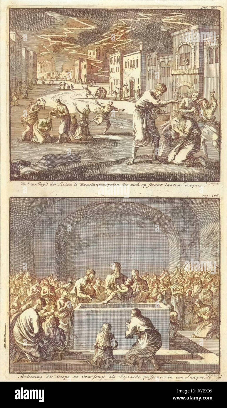 Residents of Constantinople to be baptized in the street and the baptism of elderly and young people in the church, Jan Luyken, Barent Visscher, Jacobus van Hardenberg, 1700 - Stock Image