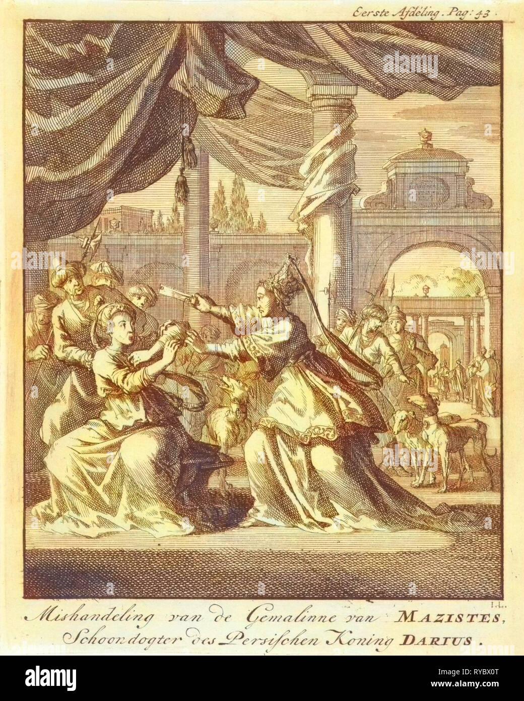 Mistreatment of women of Masistes, Jan Luyken, Jan Claesz ten Hoorn, 1699 - Stock Image