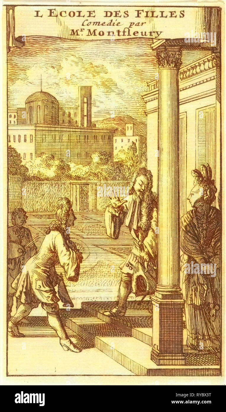 Isabelle is greeted on the sidewalk in front of her house by Don Jouan and Don Carlos, Caspar Luyken, Adriaan Braakman, 1698 - Stock Image