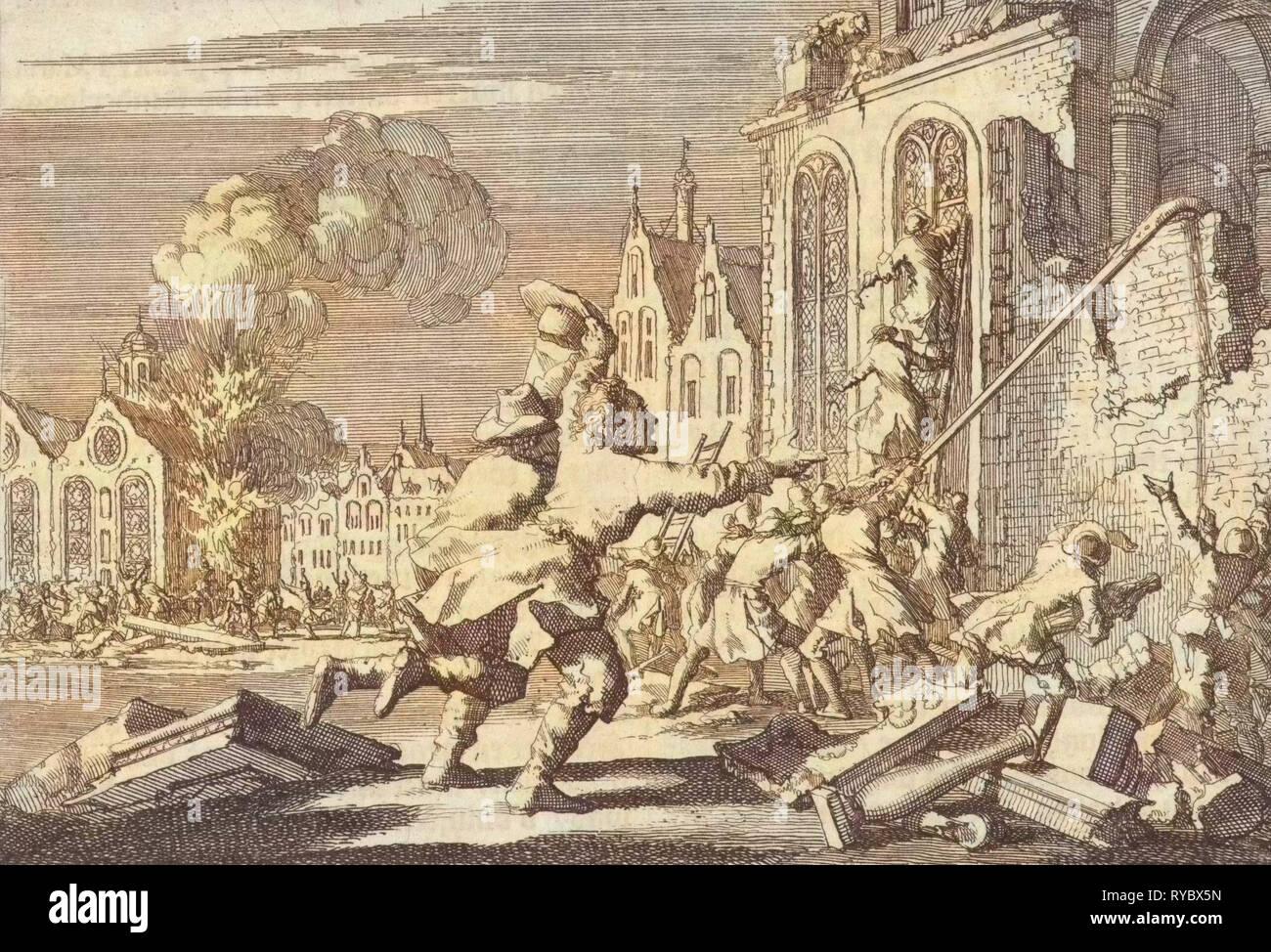 Destroying of Catholic chapels in London, 1688, Jan Luyken, Pieter ...