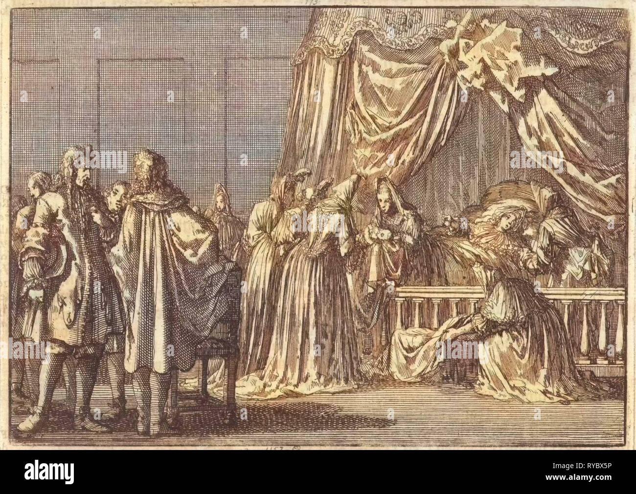 Birth of the son of King James II of England, 1688, Jan Luyken, Pieter van der Aa (I), 1698 - Stock Image