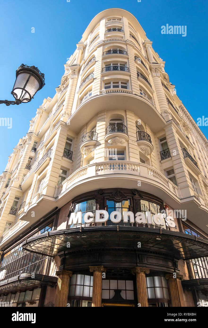 McDonalds restaurant on the corner of Gran Via and Calle de la Montera in Madrid Spain Europe. Stock Photo