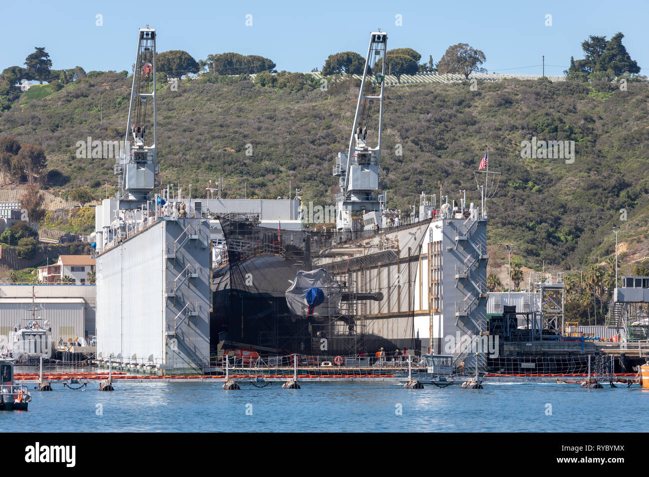 US Navy Submarine Drydock - Stock Image