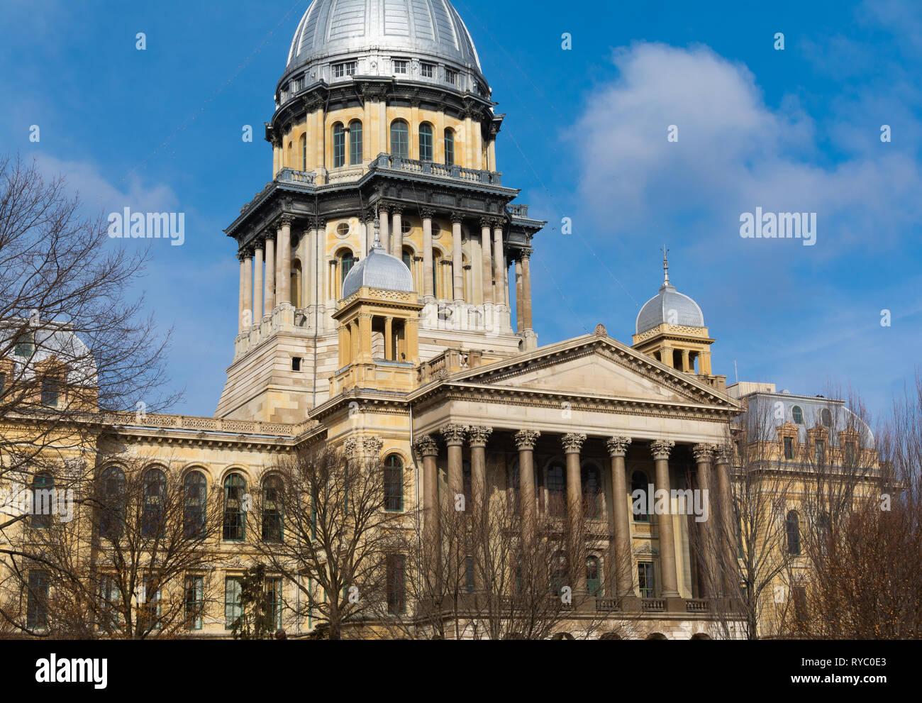 Exterior of the Illinois State Capitol Building.  Springfield, Illinois, USA. Stock Photo