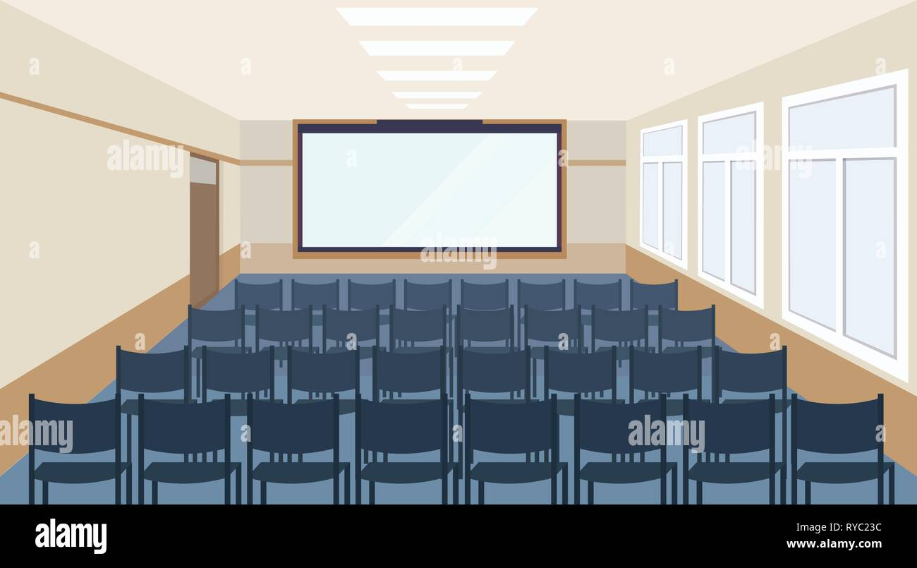 modern meeting conference presentation room interior with blue chairs and blank screen lecture seminar hall large sitting capacity empty no people - Stock Vector