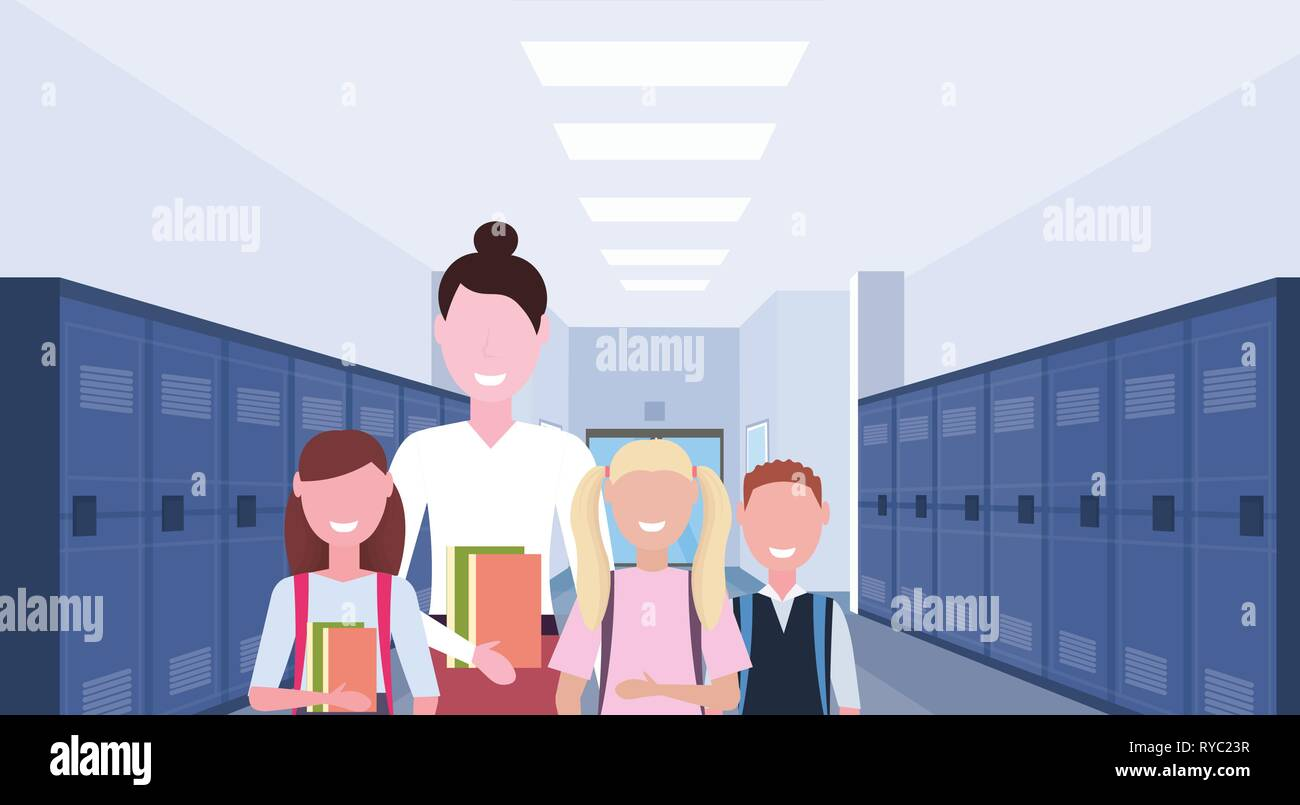 female teacher with schoolchildren group standing in school corridor interior with rows of blue lockers education concept horizontal portrait flat - Stock Vector
