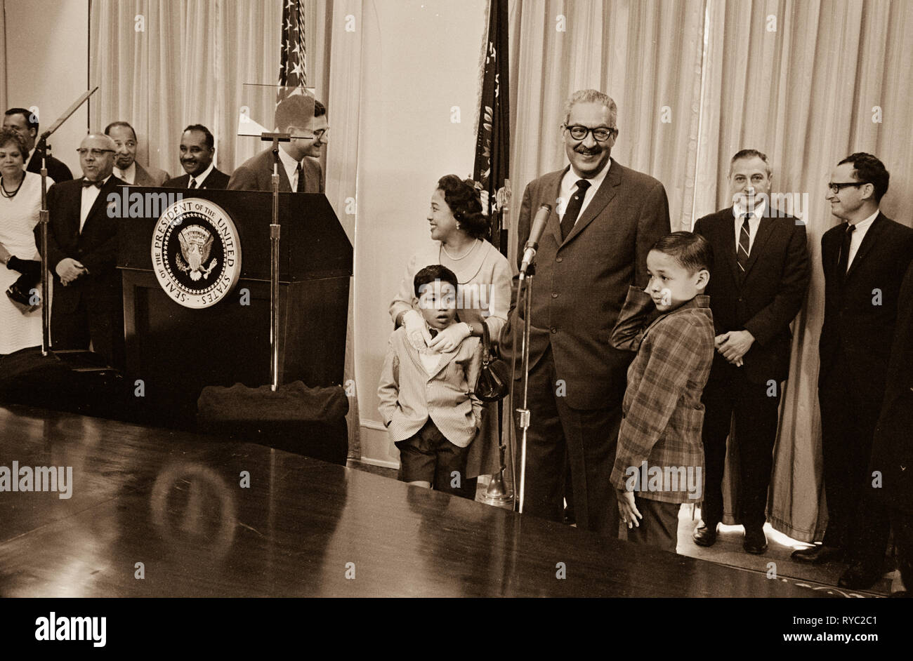 Thurgood Marshall sworn in as United States Solicitor General by President John F. Kennedy - Stock Image
