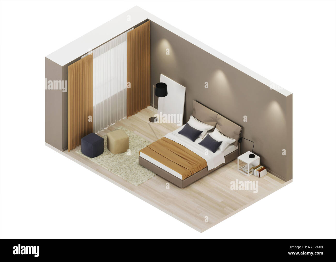 Bedroom Design In Warm Tones Orthogonal Projection View From Above