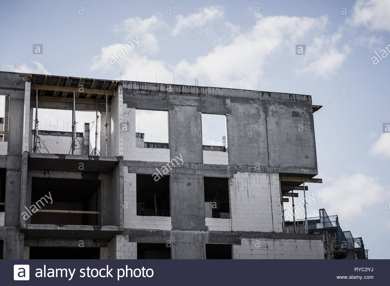 Poznan, Poland - March 9, 2019: New apartment building under construction on the Stare Zegrze district. Stock Photo