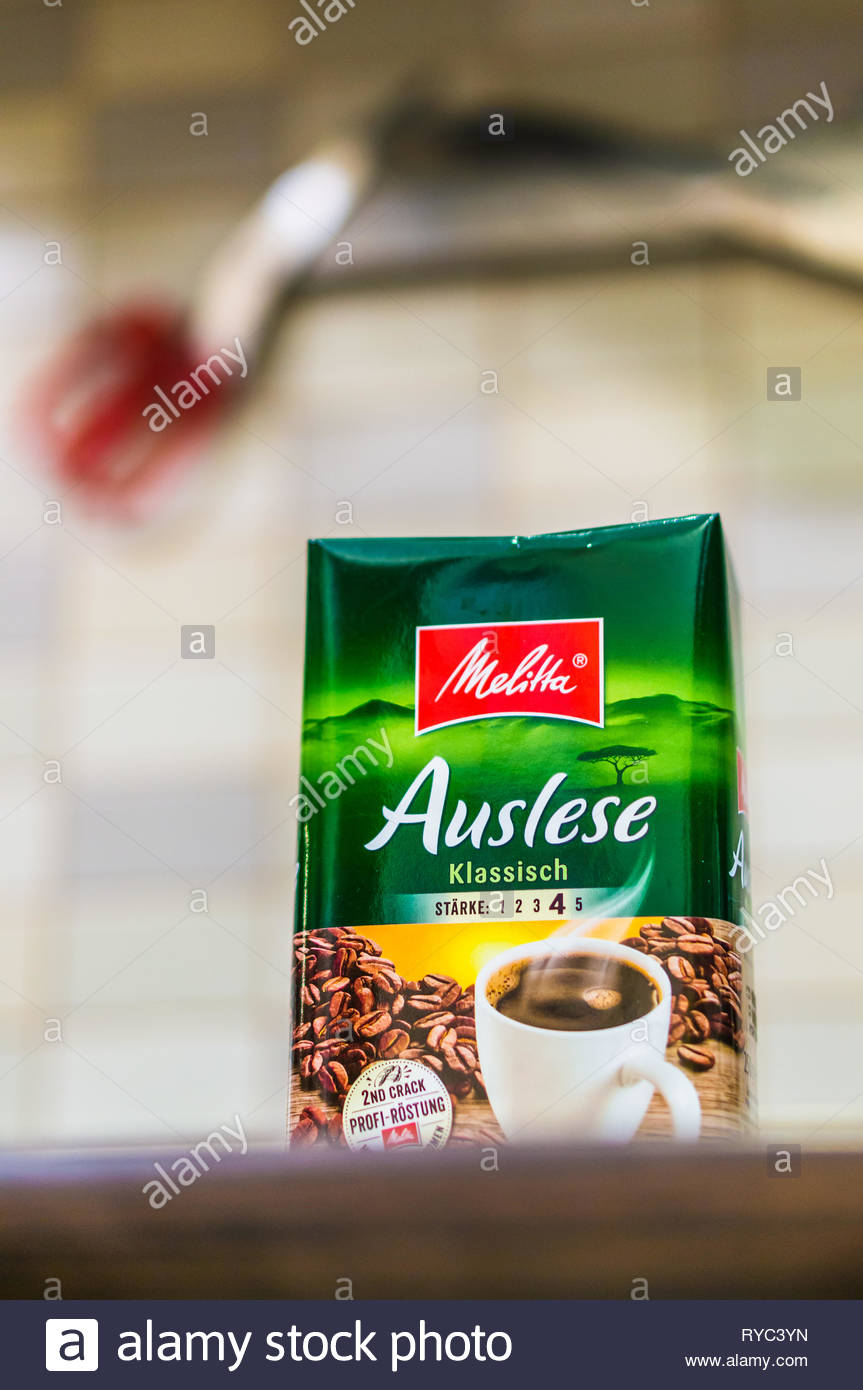 Poznan, Poland - March 9, 2019: German Melitta Auslese coffee in a package on a wooden table. Stock Photo
