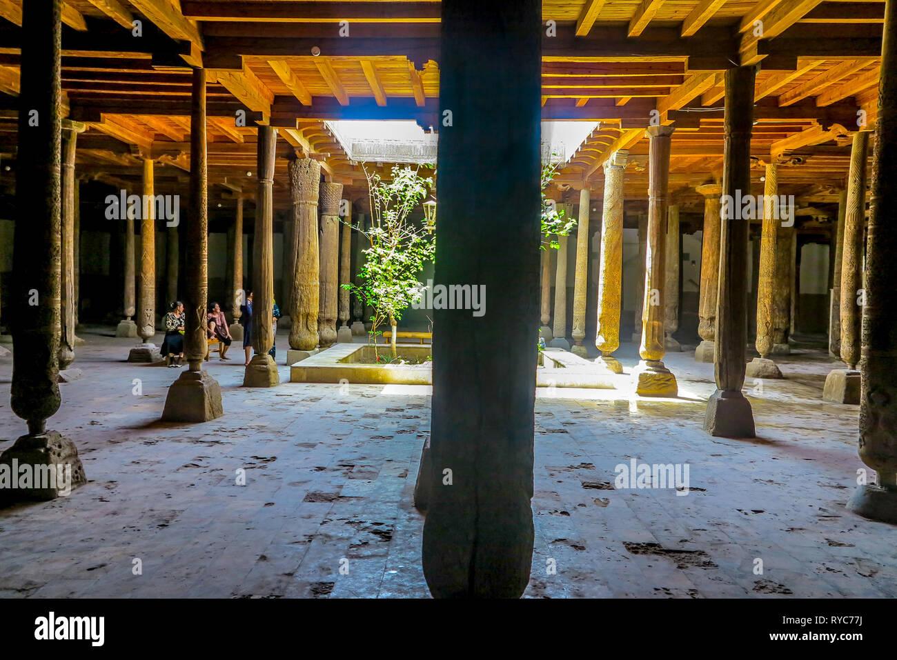 Khiva Old Town Juma Mosque Interior Wooden Columns at Prayers Hall - Stock Image