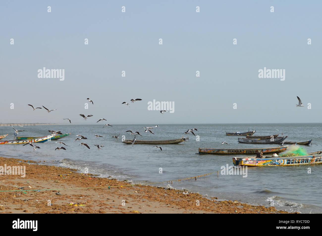 Artisanal pirogues at the beach of Djiffère, Senegal Stock Photo
