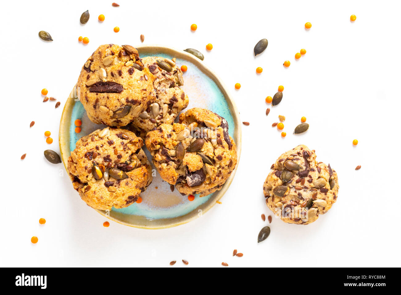 Healthy food concept Homemade Trail Mix organic Whole grains Energy cookies on white background with copy space Stock Photo