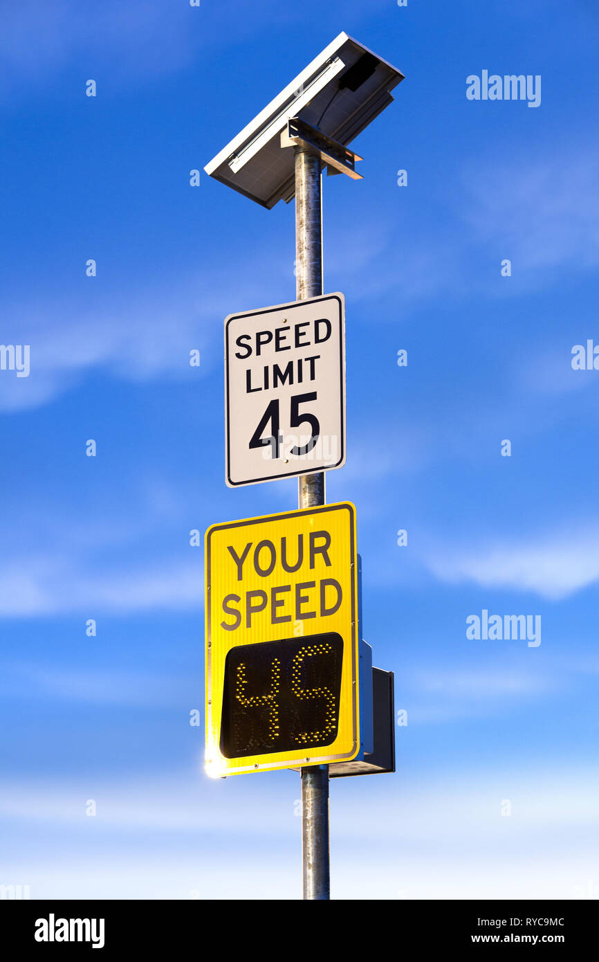 Metered speed matching speed limit - Stock Image