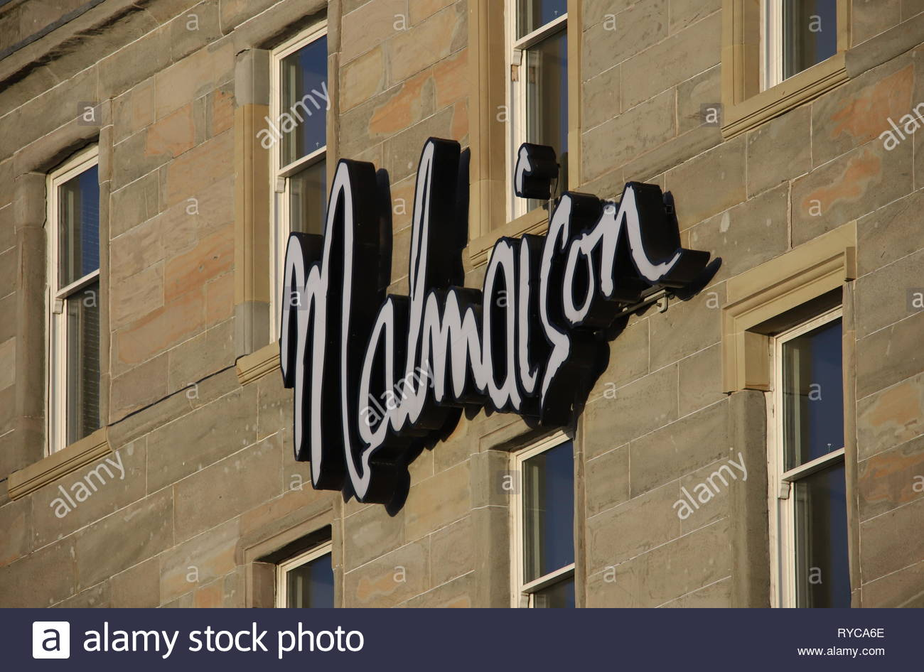 Sign of Malmaison Hotel Dundee Scotland  March 2019 Stock Photo