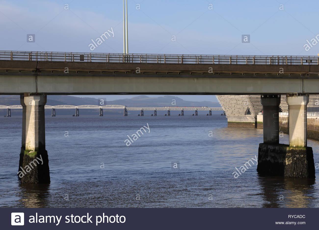 Tay Road Bridge and  Tay Rail Bridge Dundee Scotland  March 2019 Stock Photo