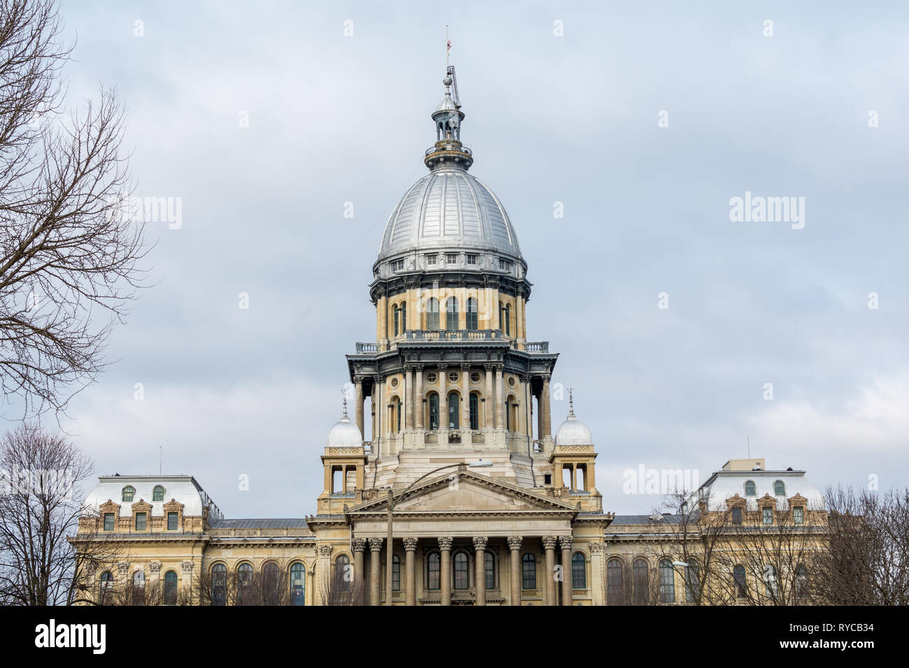 Morning light on the state capitol building in Springfield, Illinoi Stock Photo