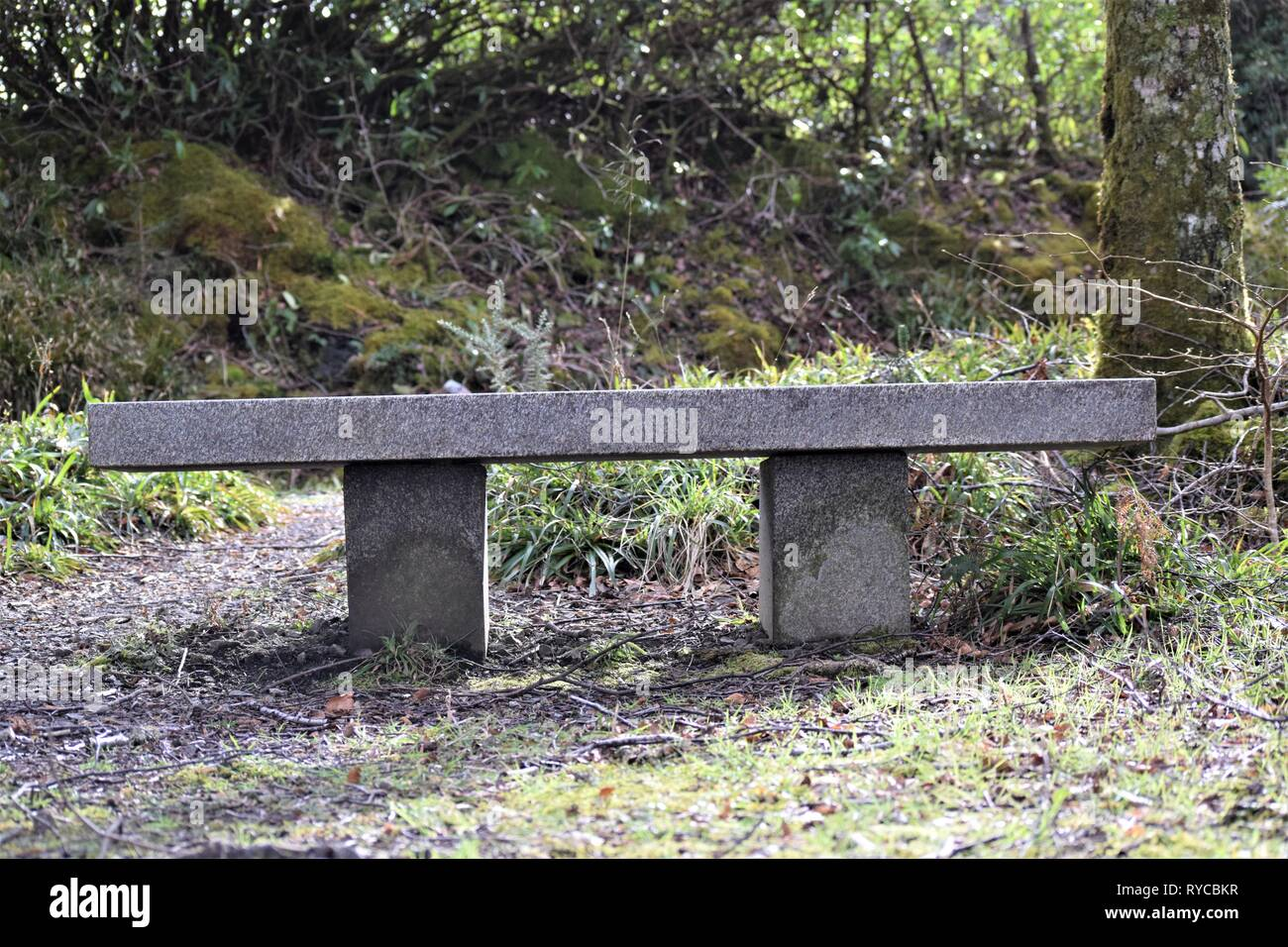 Marble seat situated close to the main road on the Sustrans National Cycle Network near the former Sea Life Centre at Barcaldine. Facing Loch Creran. - Stock Image