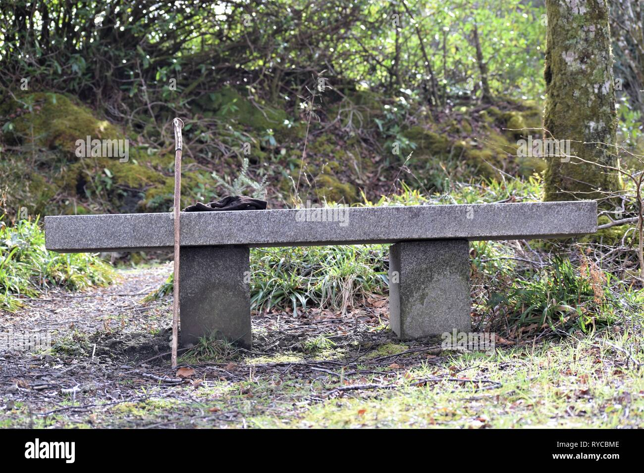 Marble seat situated close to the main road on the Sustrans National Cycle Network near the former Sea Life Centre at Barcaldine. - Stock Image